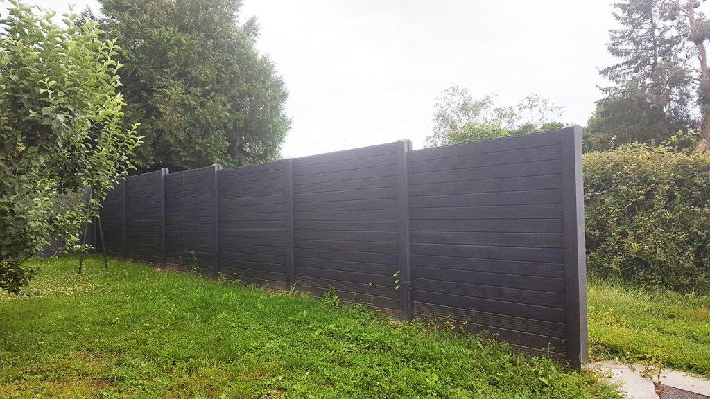 Clôture béton imitation bois. Jardins des 4 Saisons. Guer, Ploërmel, Redon, Plélan-Le-Grand, Maure de Bretagne