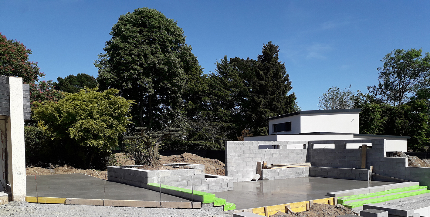 chantier en construction . terrasse 3 niveaux . Jardins des 4 Saisons. Guer, Ploërmel, Redon, Plélan-Le-Grand, Maure de Bretagne