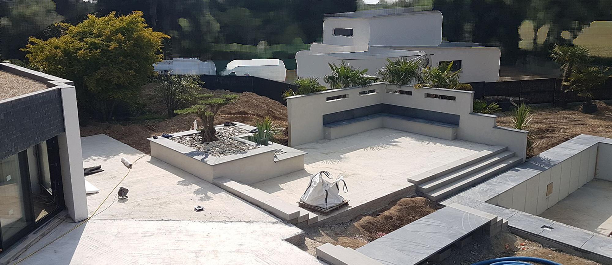 chantier en construction . terrasses différents niveaux . Jardins des 4 Saisons. Guer, Ploërmel, Redon, Plélan-Le-Grand, Maure de Bretagne