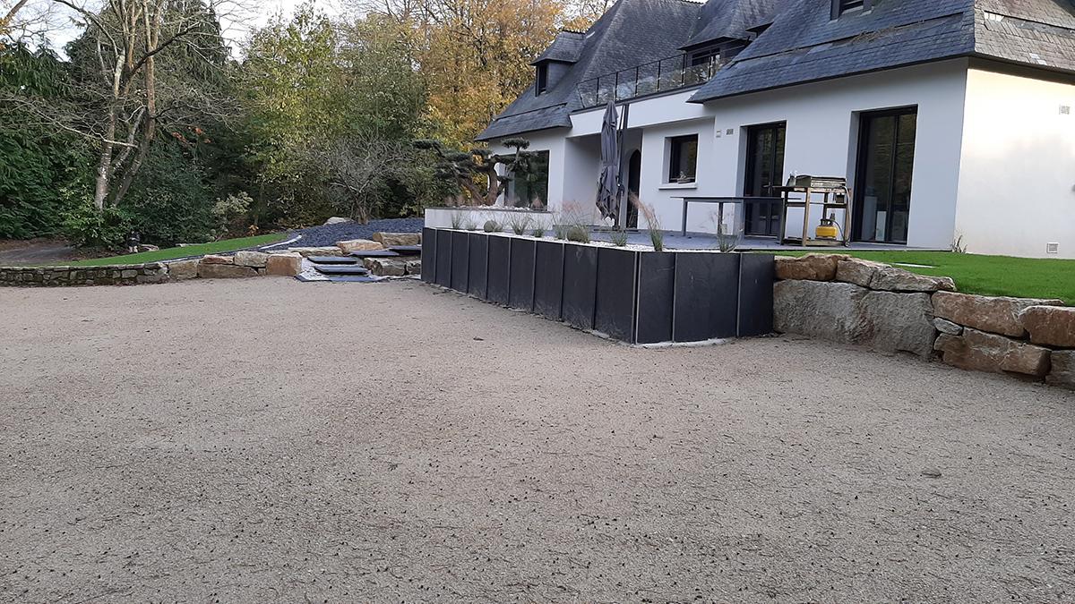 Suite reportage chantier boisé. Retenue palis ardoise. Jardins des 4 Saisons. Guer, Ploërmel, Redon, Plélan-Le-Grand, Maure de Bretagne