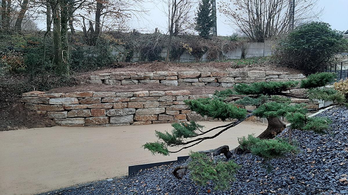 Suite reportage chantier boisé. Enrochement. Topiaire Jardins des 4 Saisons. Guer, Ploërmel, Redon, Plélan-Le-Grand, Maure de Bretagne