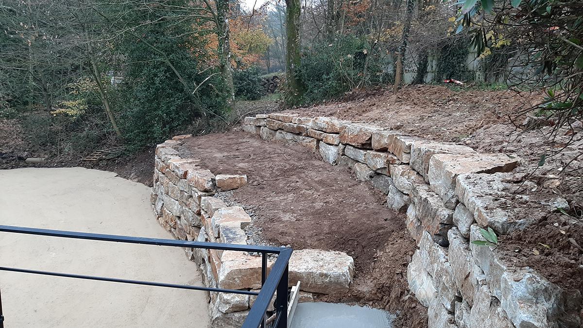 Suite reportage chantier boisé. Enrochement. Jardins des 4 Saisons. Guer, Ploërmel, Redon, Plélan-Le-Grand, Maure de Bretagne