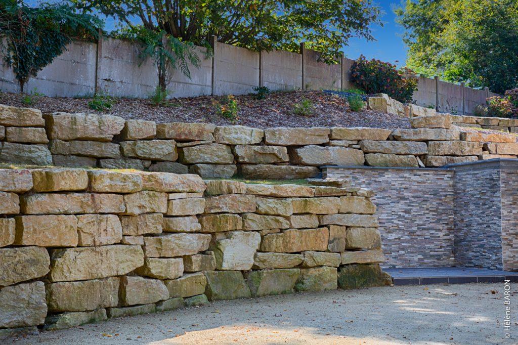 Enrochement. Parement mur. Jardins des 4 Saisons, votre paysagiste sur Guer, Ploërmel, Redon, Plélan-Le-Grand, Maure de Bretagne