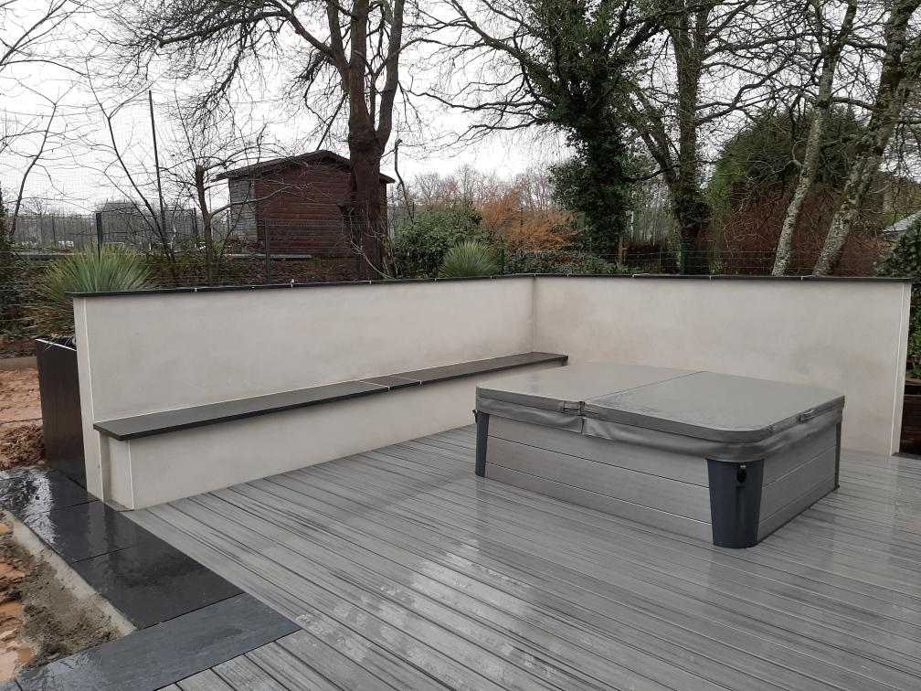 Terrasse bois. Terrasse Composite. Spa. Mur-banc. Brise-vue. Jardins des 4 Saisons. Guer, Ploërmel, Redon, Plélan-Le-Grand, Maure de Bretagne